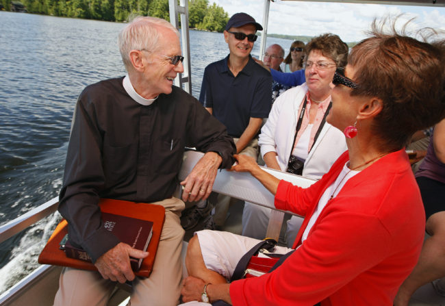 Chatting on the Chapel Bound pontoon, 2014.