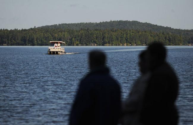 Boat approaching Chapel Island, 2014.