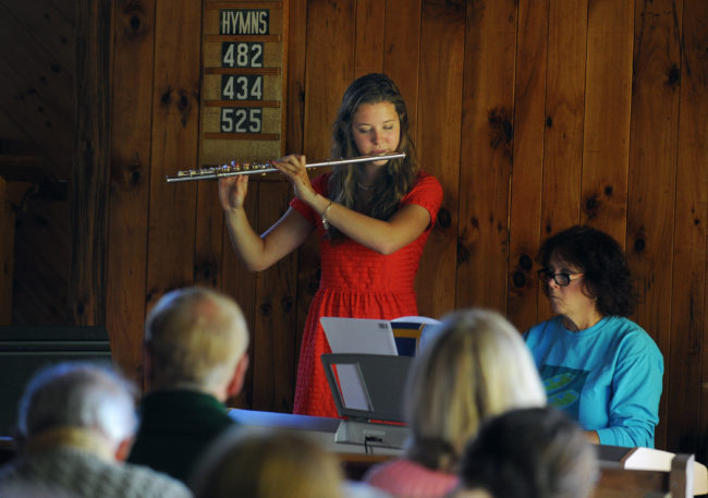 The Island Chapel service includes music by members of the congregation, 2014.