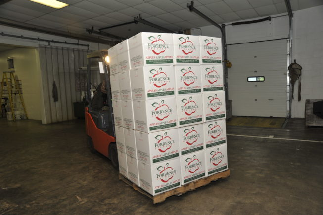 An apple shipment getting ready to go in the orchard warehouse. Forrence Orchards, Peru, NY, 2009.