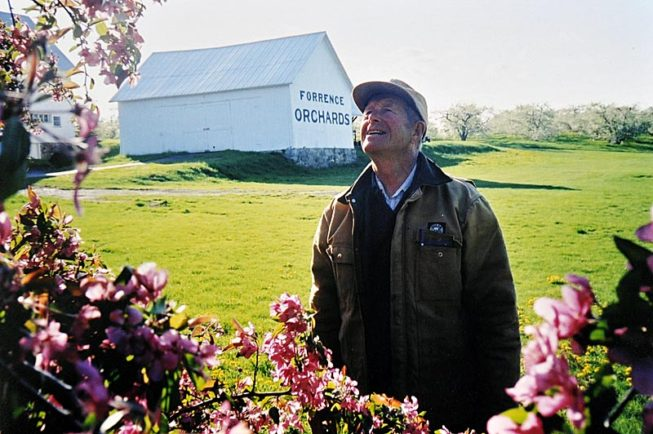Enjoying the spring blossoms. Forrence Orchards, Peru, NY, date and photographer unknown.