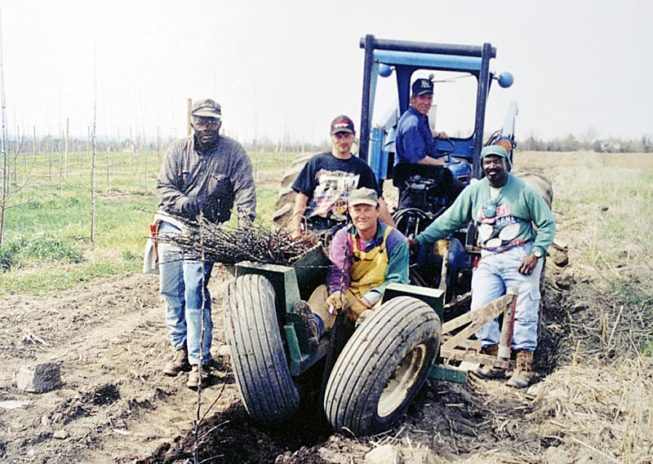 The team at work. Forrence Orchards, Peru, NY, date and photographer unknown.