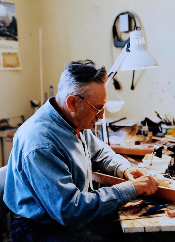 Model wooden boat builder Frank White at work. Date and photographer unknown.