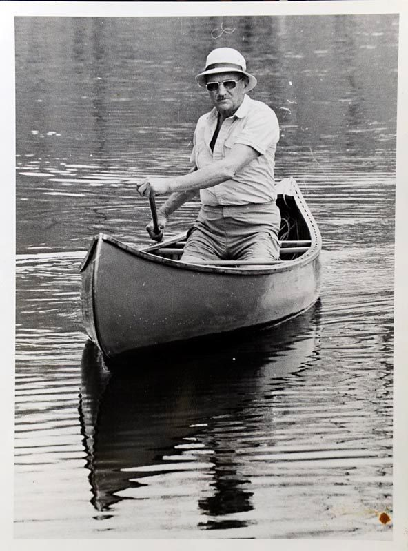 Frank White paddling on the Grasse River, May 8th, 1968. Photographer unknown.