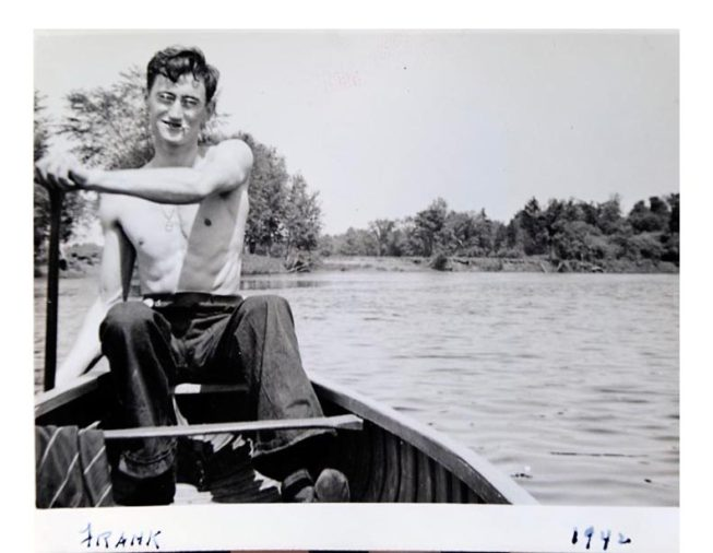 Frank White's passion for canoes and paddling has fueled his own extensive adventures on rivers big and small in the U.S. and Canada, as well as his wooden model boat-building and his helping found Canton, NY's annual Rushton Canoe Races. 1942, photographer unknown.