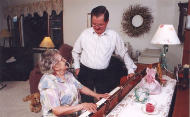 Lois Lawrence Perkins and son Don Perkins of the Perkins Family Band, Champlain Valley dance musicians, 2002.