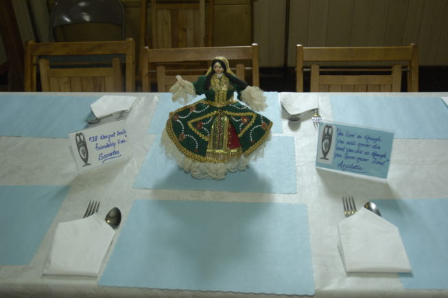 Table setting at the St. Vasilios Greek Orthodox Church Pastry Sale, Watertown, NY.