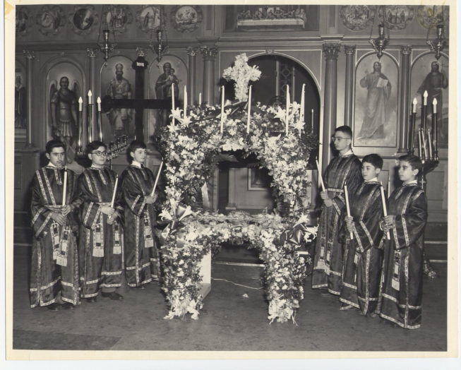 An earlier service at the St. Vasilios Greek Orthodox Church. Date and photographer unknown.