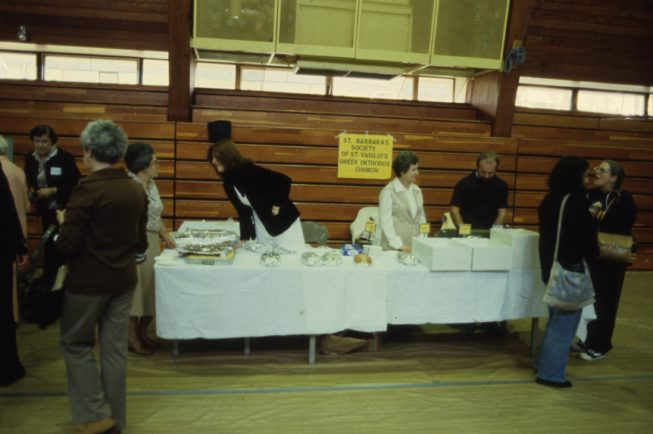 An earlier Pastry Sale at the St. Vasilios Greek Orthodox Church, Watertown, NY. Date and photographer unknown.