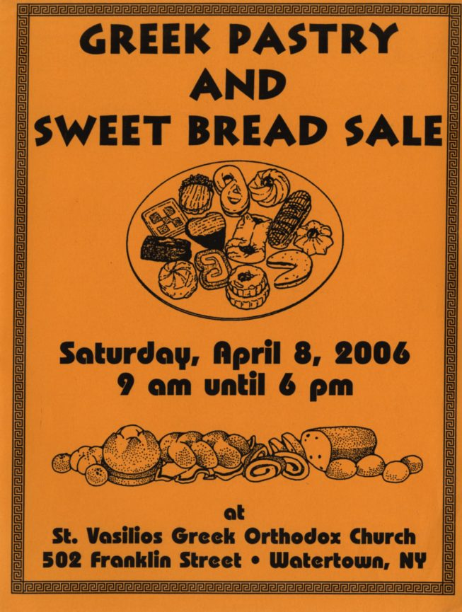 Flier for the 2006 Greek Pastry Sale at St. Vasilios.
