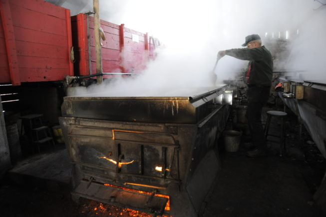 Working with the evaporator in the boiling shed, 2010. Some of the equipment the Yanceys use dates to the first half of the 20th century, and their 1920s-era evaporator is fueled by wood cut on their woodlot.