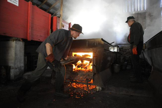 Stoking the fire, 2010. Some of the equipment the Yanceys use dates to the first half of the 20th century, and their 1920s-era evaporator is fueled by wood cut on their woodlot.