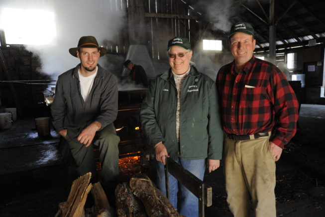 The Yancey family during sugaring season, 2010. On a visit in 2021, members of the fourth, fifth, and sixth generations of the family to operate the sugarbush were hard at work.