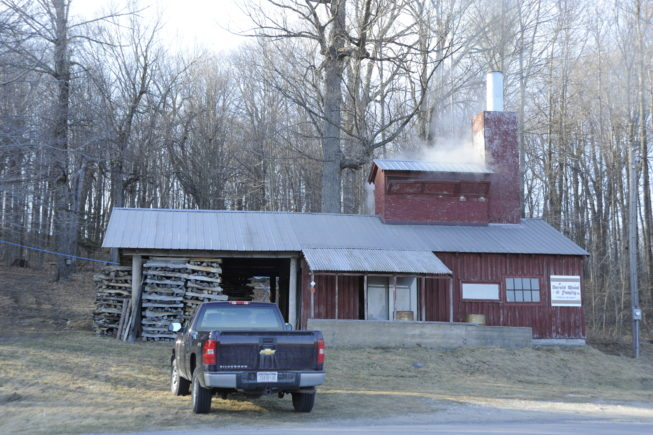 The boiling shed at Yancey's Sugarbush, 2010.