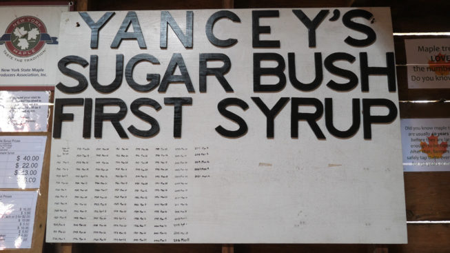 One hundred years of First Syrup dates on the board, 2021. Over the years, the Yanceys have kept track of the first date they produce syrup each year. Like many who farm throughout the region with small diversified operations, the Yanceys also consider syrup the first crop of the year.