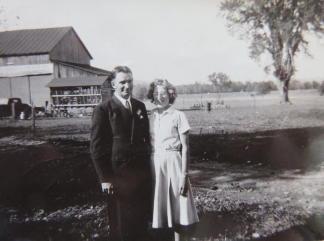 """Loretta's parents, John S. and Victoria """"Vicki"""" Lepkowski (originally Mierek) after they'd married and moved to their farm. Photographer unknown, c. early 1940s. Courtesy of Loretta Lepkowski."""