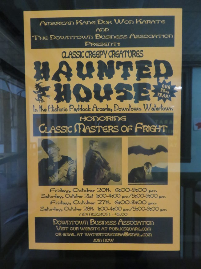 A poster in the Arcade for the 2017 Haunted House in the Arcade, a favorite local annual event. Photo by Camilla Ammirati, 2017.