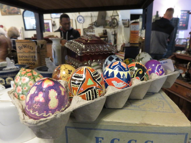 Pysanky eggs for sale in Paddock Arts and Antiques inside the Paddock Arcade. Photo by Camilla Ammirati, 2017.
